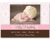 """Birth Announcement, Baby Girl or Boy - """"Sweet Damask"""" - a printable photo card. (No. 11010)"""
