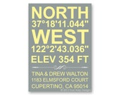 "Moving Announcement, New Address, New Home, Just Moved, Printable Photo Card - ""Coordinates and Elevation"" (No. 15005)"