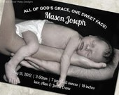 """Birth Announcement - """"God's Grace"""" - a printable photo card to announce your little one's arrival. (No. 11024)"""