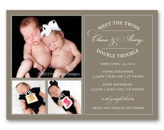 Twins Birth Announcement, Vintage Inspired - a printable photo card for your multiples