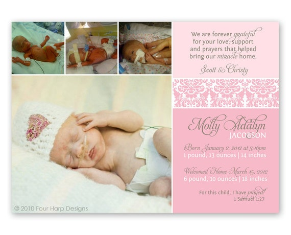 Preemie Birth Announcement, Welcome Home Little One, Damask (No. 12004)