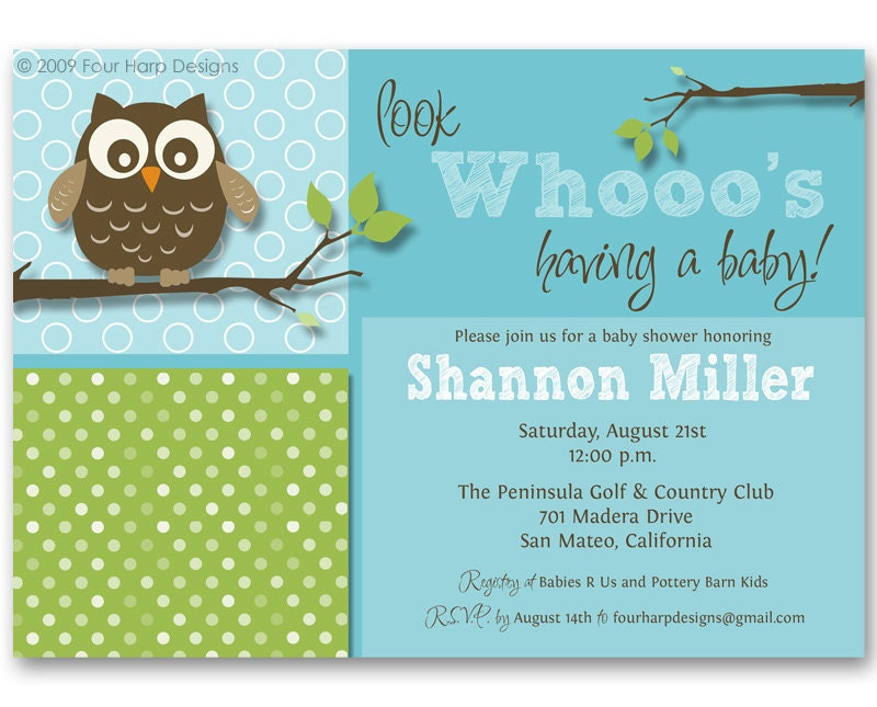 baby shower invitation owl invite look whooo 39 s by fourharpdesigns