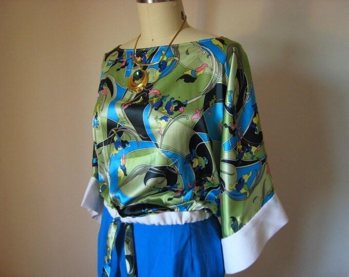 70s Kimono Sleeve Crop Top Blouse / 1970s Pattern New Construction / Disco Blouse / Vintage Style Blouse / Cropped Blouse / VARIOUS COLORS