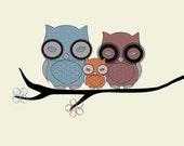 Owl Family 8x10 Fine Art Giclee Print (20.32cm x 25.40cm)