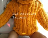 Doll Irish Cable Sweater PDF Knitting Pattern - Hand Knit for the 18 inch American Girl Doll