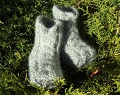 Gray Baby Boy Socks Baby Booties Hand Knit Grey Alpaca Wool Baby Crib Shoes with Irish Aran Cables (Size 0 - 3 Months - Ready to Ship)