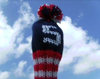 USA Star Spangled Banner Golf Club Cover Hand Knit Red White Blue Stars and Stripes Patriot American Flag Team America Cozy (Made to Order)