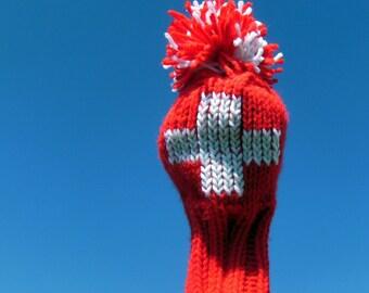 Swiss Flag Schweizer Fahne Golf Club Cover - Hand Knit Red White Cross Equipe Suisse Schweiz Svizzera Cozy (Made to Order)