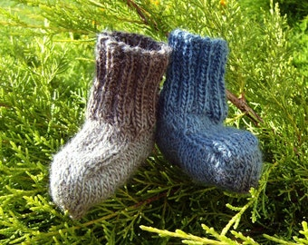 Woodsy Hand Knit Beige Brown Petrol Grey Blue Baby Boy Socks Booties in Soft Wool (NB, 0 - 3 months) - Ready to Ship