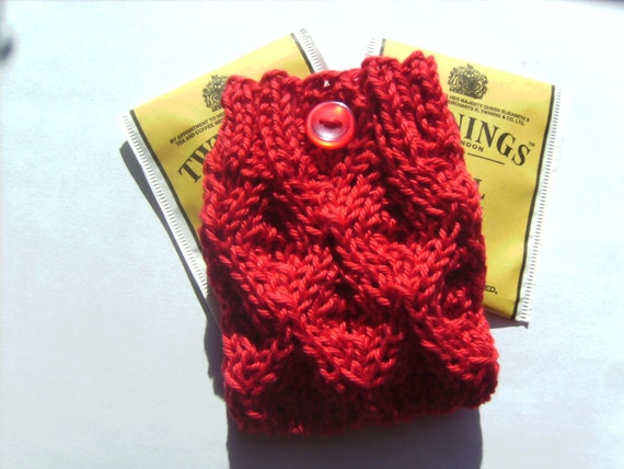 Rooibos Elegant Red Lace Knit Travel Tea Bag Cozy Holder Wallet Tote Purse or Jewelry Pouch