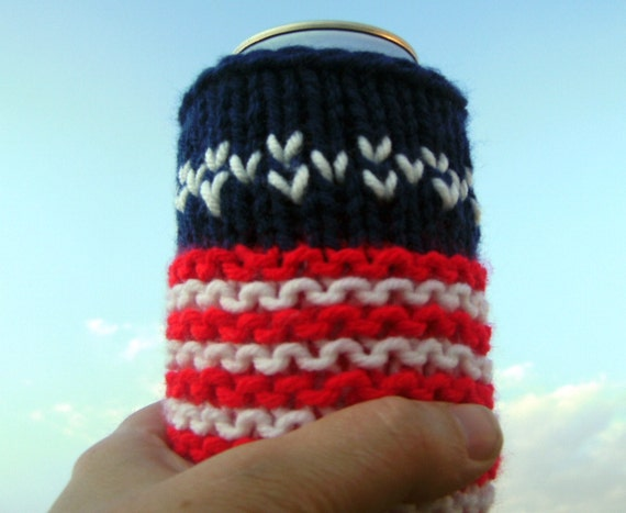 Hand Knit Star Spangled Banner Beer Soda Pop Can Grill BBQ Barbecue Cozy Cuddler - American Flag