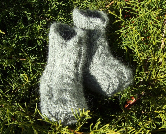 Gray Baby Boy Socks Baby Booties Hand Knit Grey Alpaca Wool Baby Crib Shoes with Irish Aran Cables (Size 0 - 3 Months - Made to Order)