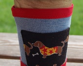 Upcycled Denim Coffee Sleeve with Pocket - wiener dog with red trim