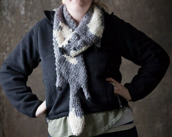 Knitted Fox Scarf Stole in Grey