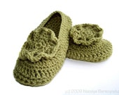 Crochet Womens Slippers, Mary Janes, Olive Green Avocado Moss Grass Vegan