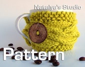 Cup Cozy Pattern, PDF Coffee Tea Mug Sleeve Knitted Cabled, Button