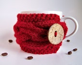 Cranberry Red Cup Cozy, Vampire Cherry Mug Sleeve, Coffee Tea, Dark Ruby Berry Claret Wine Pomegranate, Vegan Eco-Friendly