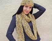 Christmas Sale - 50% Off - Skinny Scarf and Hat Set - READY TO SHIP - Free Shipping Etsy Sale