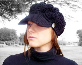 Womens Crochet Hat Women Crochet Newsboy Hat Womens Newsboy Hat Women Newsboy Cap Crochet Hat Black Newsboy Hat Crochet Slouch Hat Black Hat