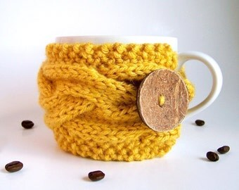 Coffee Cup Sleeve, Coffee Mug Cozy, Coffee Cozy, Coffee Sleeve, Tea Cozy, Coffee Gifts, Gifts Under 20, Tea Gifts, Yellow Wedding Favors