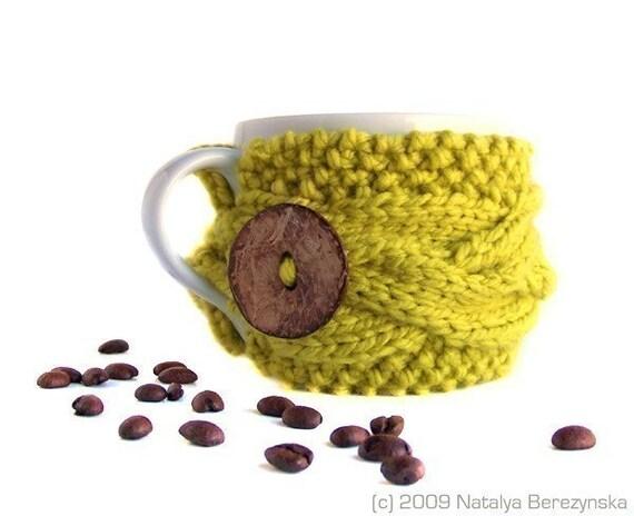 Tea Cup Cozy, Coffee Mug Sleeve, Knitted, Yellow  Golden Honey Mustard