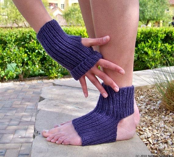 Purple Yoga Socks, Women Dance Pilates Leg Warmers, Grape Plum Eggplant Gloves, Aubergine Violet Lilac