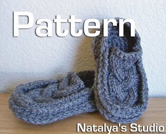 Knitted Moccasin Slippers Pattern : Knit Crochet Baby Booties Pattern Cabled Moccasin Slippers