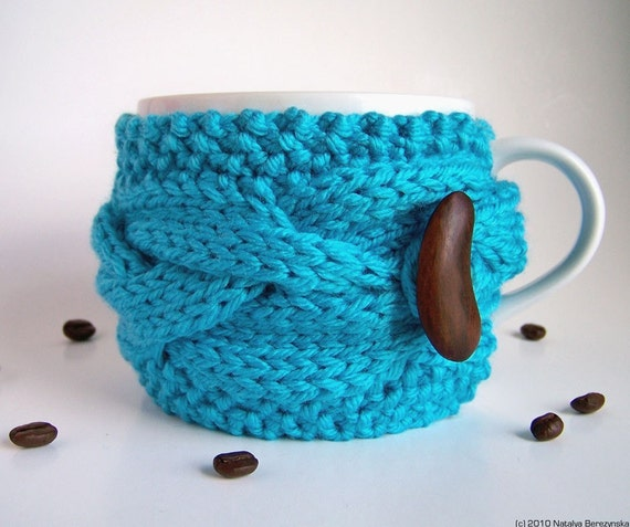 Turquoise Cup Cozy, Blue Mug Sleeve, Coffee Tea Knitted, Brown Wooden Button