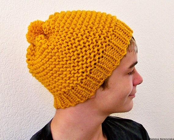 Mens Winter Hat, Last Minute Gift, Mens Beanie Hat, Mens Hat, Chunky Knit Hat, Pom Pom Hat, Mans Hat, Mens Slouchy Beanie, Mens Knit Beanie