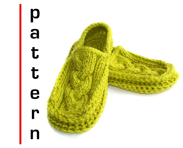 Free Knitting Pattern For Womens Slippers : Moccasin Slippers Pattern Knit Crochet Cabled PDF Tutorial