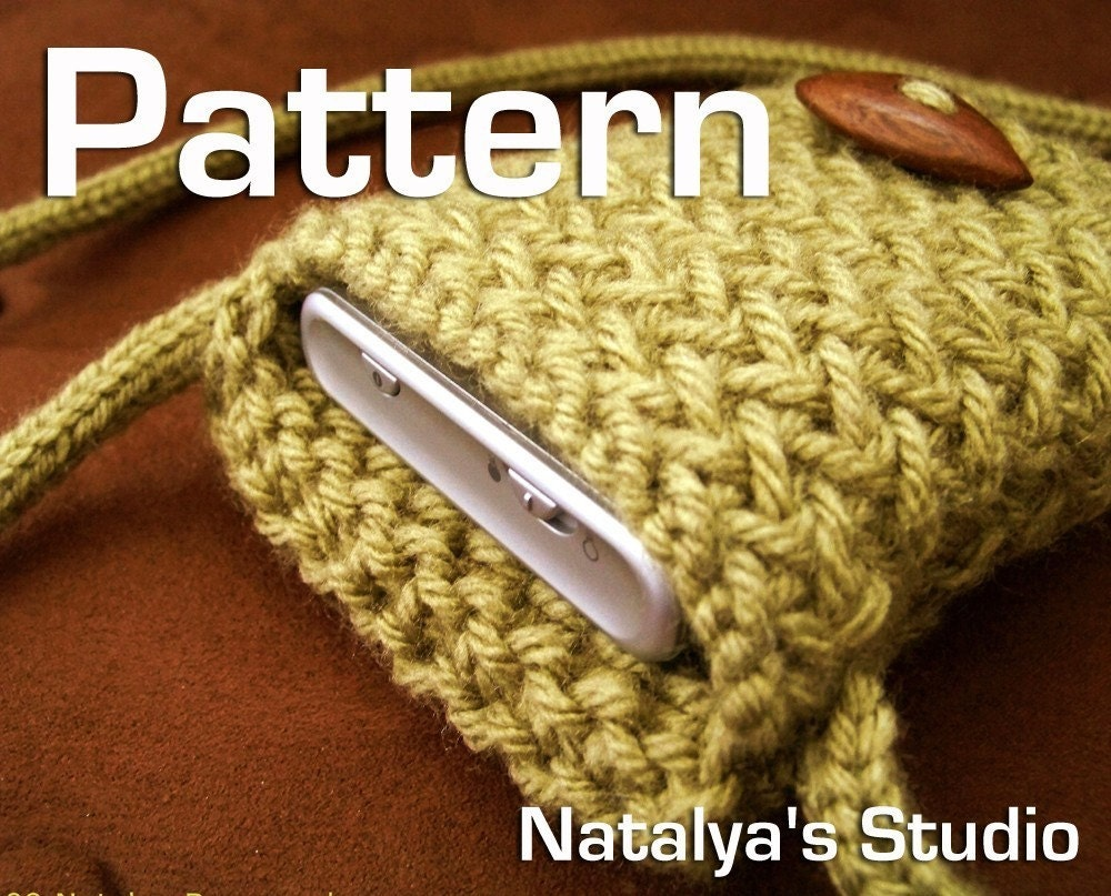 iPhone Case Pattern Knitted Cell Phone Sleeve PDF Neck Bag