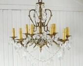 RESERVED Vintage Large Chandelier and Prisms