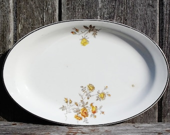 Vintage Platter Yellow Roses Homer Laughlin
