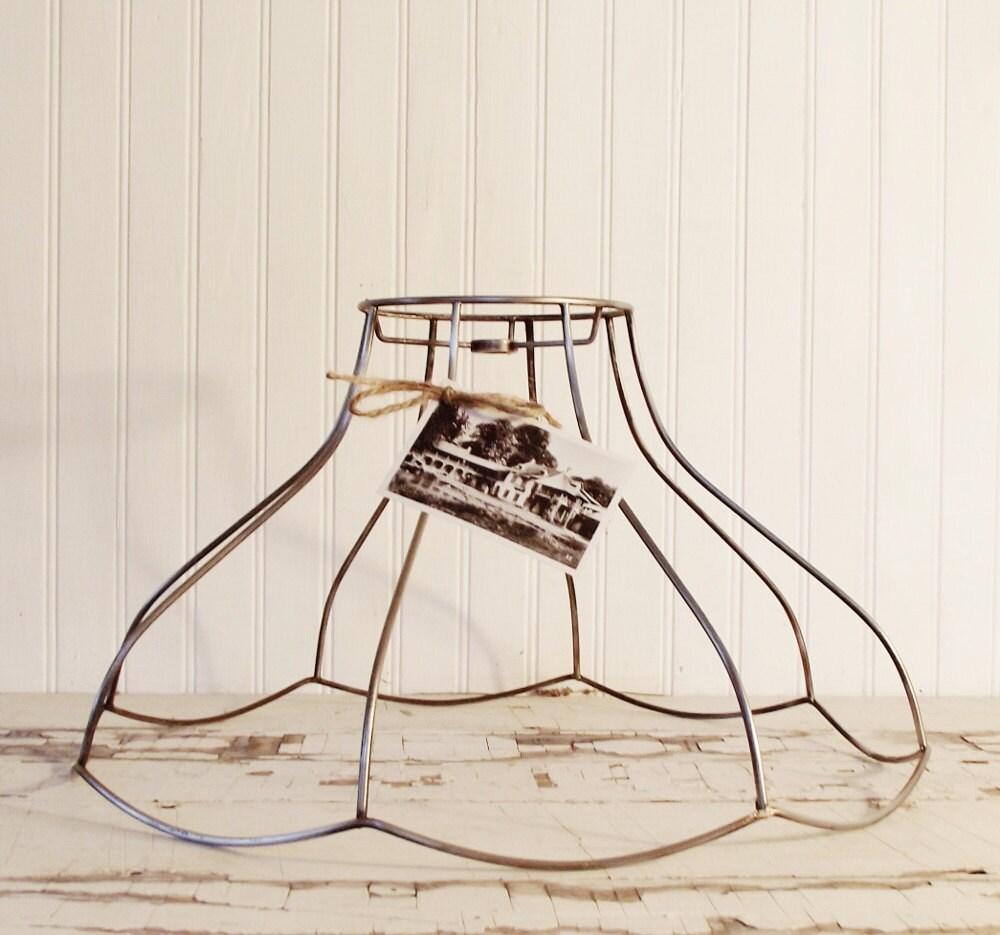 vintage bell shaped wire lamp shade frame. Black Bedroom Furniture Sets. Home Design Ideas