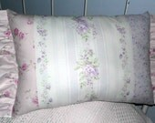 Shabby Chic Pillow  Roses Pinks and Lilacs Stripes and Ruffles