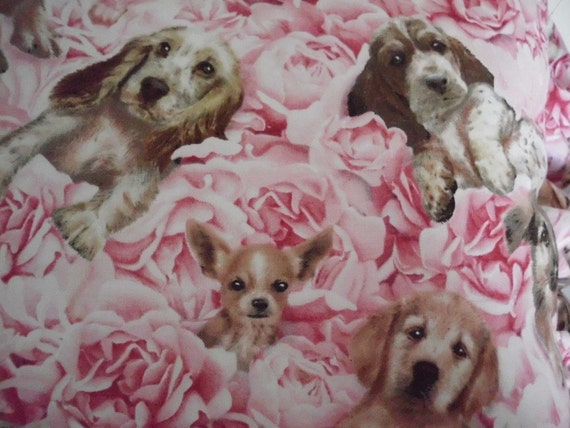 Shabby Chic Pillow with Puppies Portraits and Pink Roses Perfect