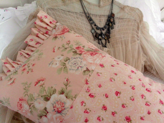 Shabby Chic Brocante Style Pillow with Peachy Pink Roses