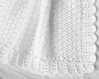 Crochet Baby Blanket White Christening Baptism Newborn Crib Stroller Car Seat Afghan Gender Neutral Boy Girl Shower Gift Photo Prop