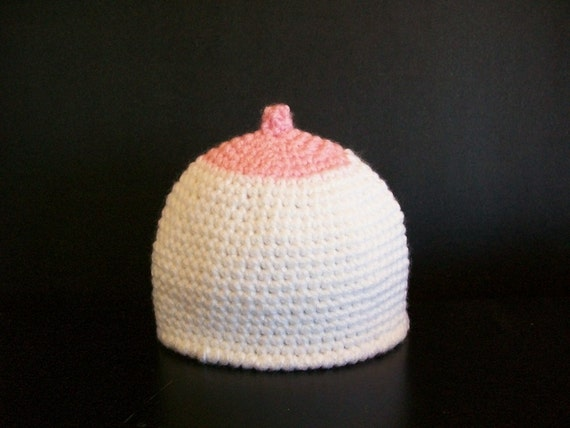 Baby Boob Hat Beanie Breastfeeding Nursing Cap Pink newborn 3 6 9 12 month sizes baby shower gift