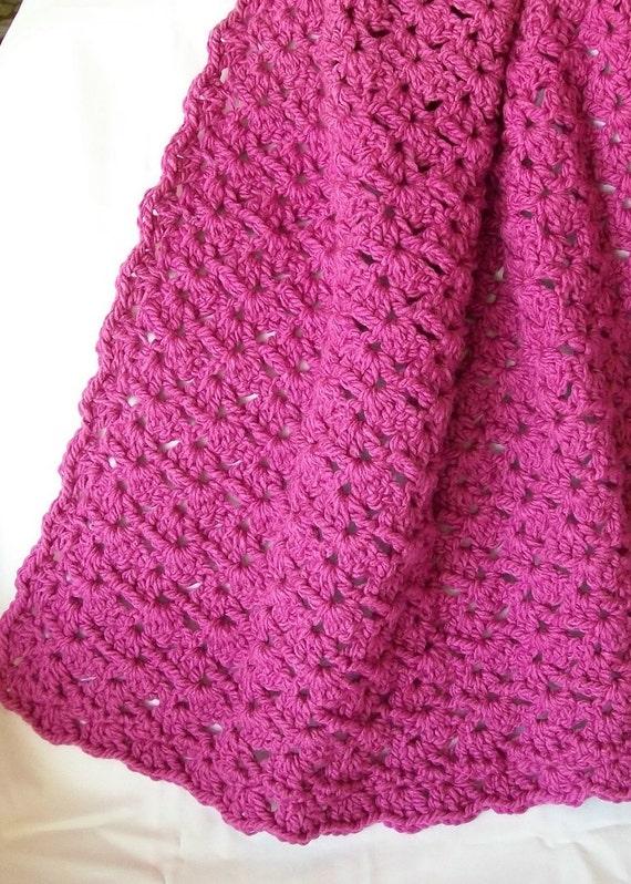 Crochet Pink Baby Blanket - Raspberry Pink Baby Afghan- Baby Girl Blanket - Crib Blanket Afghan