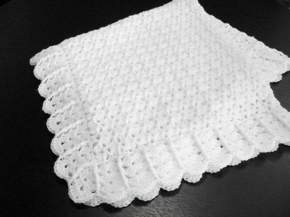 White Baby Blanket Afghan Crochet Christening By