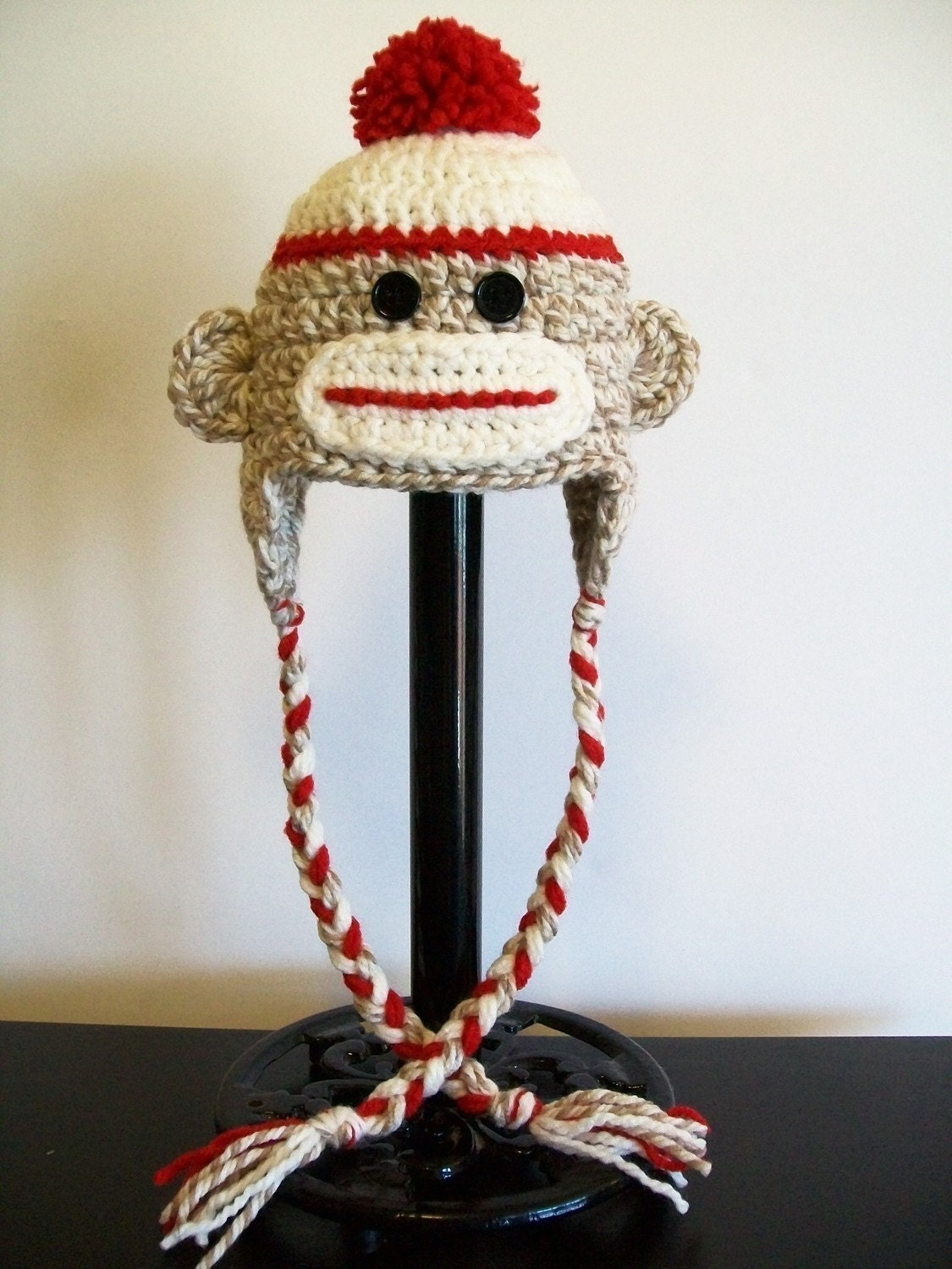 Baby Newborn Sock Monkey Hat With Ear Flaps And Braids Photo