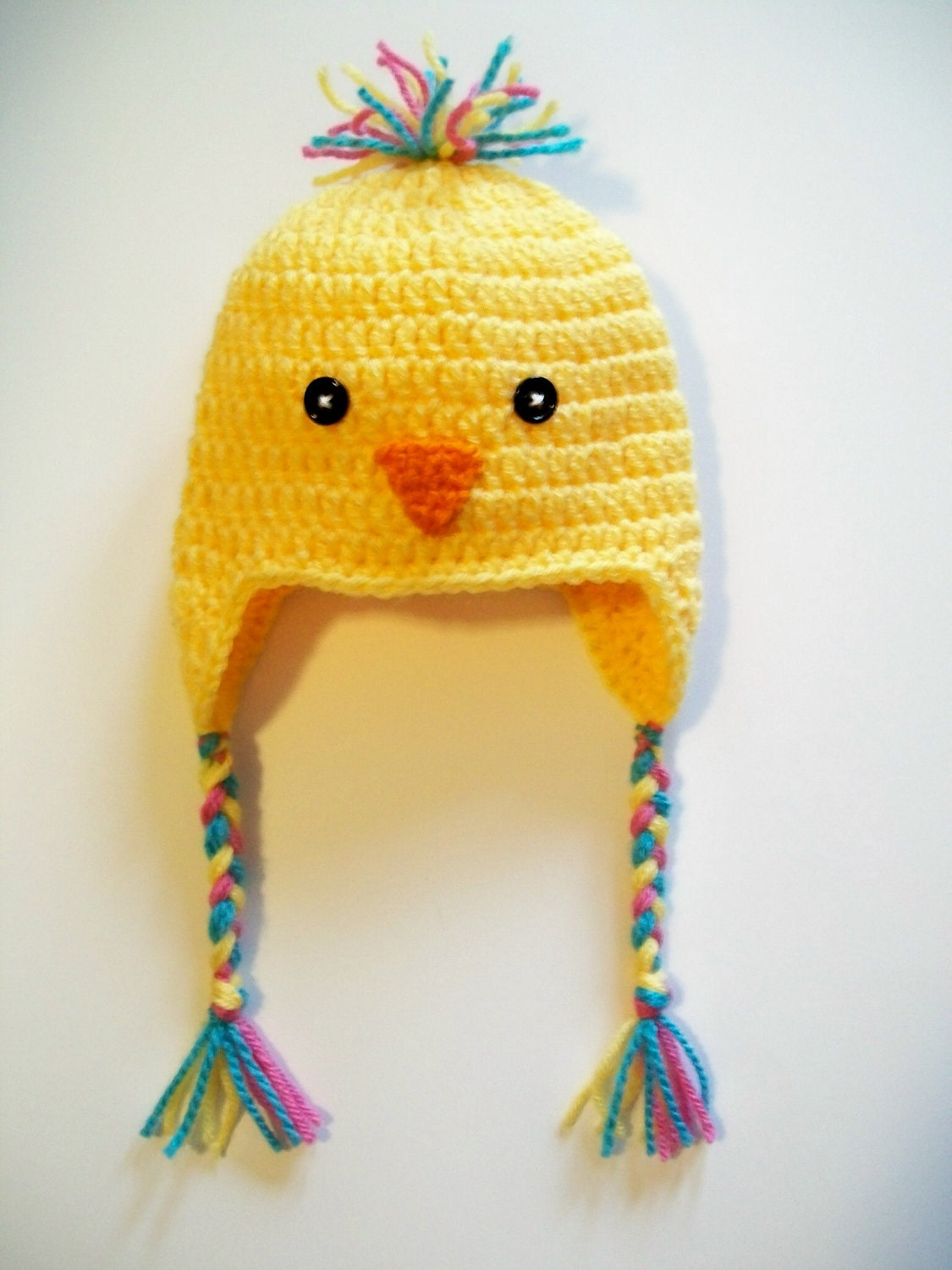 Yellow chick baby bird hat beanie crochet ear by littledarlynns