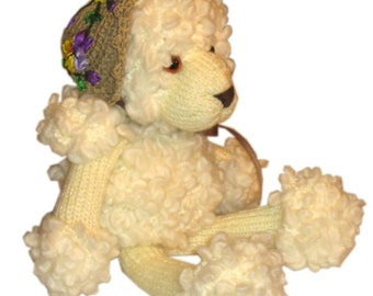 Sweet Poodle with Spring Hat PDF Email KNIT PATTERN
