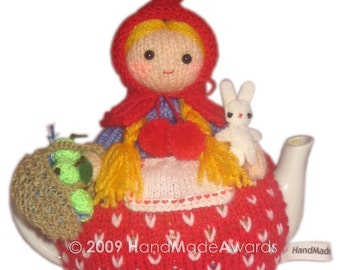 Lovely Little Red Riding Hood with her Bunny and Basket of green Apples Tea Cosy PDF email Knit PATTERN BY HandMadeAwards