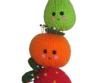 Orange, Pear and Strawberry PINCUSHION Pdf Email CROCHET PATTERN