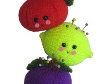 Tomato, Lemon and Plum PINCUSHION Pdf Email Crochet PATTERN