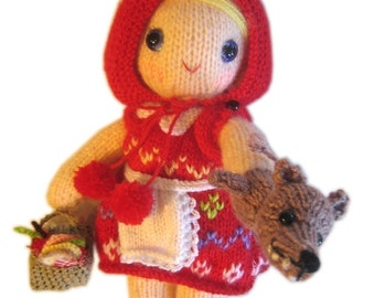 Adorable Little Red Riding Hood girly Doll  with Wolf puppet Knit PATTERN pdf Email