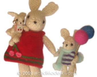 Amazing Baby BUNNY With His Carriage And His Brother With Balloons PDF Email Knit PATTERN