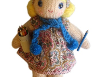 Sweetest Monica girly DOLL Knit PATTERN pdf EMAIL